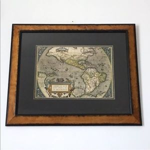 Uttermost Framed Map Antique Print Hand Colored